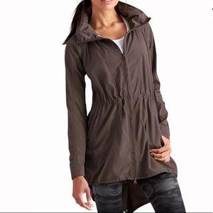 ATHLETA Drippity Rain Jacket Mocha Packable Hood